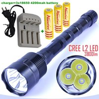 Wholesale Mode Battery - 3L2 LED flashlight 3xCREE XM-L2 3800 lumens 3* L2 5 Mode 3 * Cree LED Flashlight Torch Lamp + 3x 18650 battery+charger