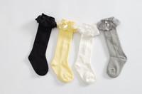 Wholesale Lace Top Boot Socks Wholesale - 2016 new korean children socks baby girl lace Bows top socks kids cotton Twist knitting sockings leg children knee BOOT high socks A8070