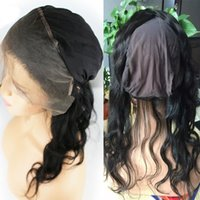 Wholesale wholesale lace frontals - Peruvian Virgin Hair 360 Lace Frontal Closure With Stretch Cap Unprocessed Human Hair Body Wave 360 Frontals Bleached Knots Wholesale 5pcs