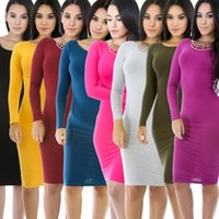 Wholesale Tight Purple Long Sleeve Dress - 20 colors Winter Autumn Dress Plus Size Cotton Long Sleeve Knee Length Dresses Fashion Gray Wine Red Vintage Bandage Maxi Dress Tight