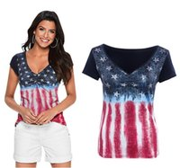 Wholesale Women S American Flag Shirt - Women Summer American flag cowboy printing tops T-shirts Short-sleeved V-neck loose Brand New Good Quality Free Shipping