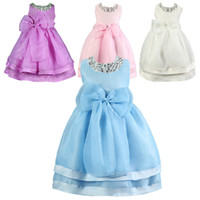 Wholesale girls neck accessories online - PrettyBaby summer colors kids girls dress sleeveless bow belt and diamond necklace accessories princess dresses