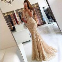 Wholesale Lace Scoop Back Trumpet Gown - 2018 New Elegant Champagne Lace Tulle Mermaid Prom Dresses Half Sleeves Sexy Backless Illusion Sheer Scoop Evening Dress Gown