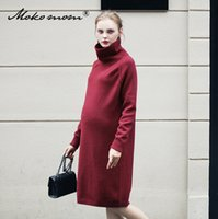 Wholesale Pregnant Comfortable - New Style Fashion and Comfortable Knitted Dress Pregnant Woman Autumn Skirt Spring Sweater Long Sleeve High Collar Mother Maternity Clothes