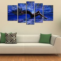 Wholesale Sexy Nude Painted Girls - 5 Panels Sexy Girl Abstract Canvas Wall Art Women Naked Figure Canvas Art Oil Painting on Canvas for Living Room Bedroom Wall Decor