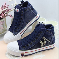 Wholesale Denim Boots For Women - Free shipping, high quality denim canvas shoes women's high casual shoes after the bandage fashion shoes for female 2016 shoes boots