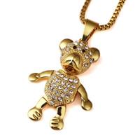 Wholesale Mens Hip Hop Diamond Pendants - High quality 18K Gold Plated mens Hip hop lovely Bears Star Iced Out necklace Rapper Golden Pendants kings Box Chain Necklace Men