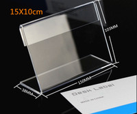 Wholesale Label Frame - Big size Acrylic T1.3mm Clear Plastic Table Sign Price Tag Label Display Paper Promotion Card Holders L Shape desk frame display stands