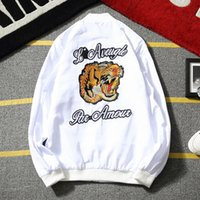 Wholesale Mens Casual Spring Jackets - Wholesale- Embroidery Tiger Head Men Jacket 2017 New Fashion Spring Autumn Plus Size 5XL Mandarin Collar mens jackets and coats Black White