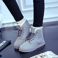 Wholesale Crust Rounding - 5 colors 2016 winter snow boots thick crust Martin boots lace street classic warm cotton boots women's flat shoes