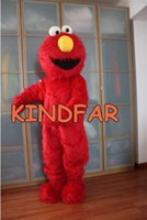 Wholesale Elmo Cartoon Mascot - Wholesale-Professional Elmo Red Monster Mascot Costume adult size Fancy Dress Cartoon Outfits Suit Free Ship