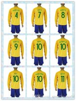 Wholesale Long Sleeve Soccer Jerseys Blank - 2016 Copa America Blank Soccer Jerseys Long Sleeves Brasil Customized Home Yellow Football Shirts With Shorts Thailand Quality Men Size S-XL