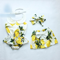 Wholesale Green Floral Skirt - Newborn Baby Girls Romper summer new toddler kids doll collar lemon floral printed romper+Bows headband +Bows cotton skirt 3pcs sets A9673