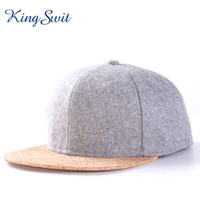 Wholesale woolen ball - KingSwit Hot Selling Patchwork Hip Hop Caps For Men Women Fashion Cork Brim Hats Woolen Material Caps KH034