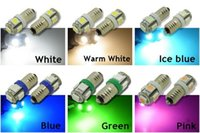 Wholesale Miniature Light Lamps - E10 5-SMD 5050 LED White Warm Iceblue Blue Green Pink Lights MES Miniature Screw Bulb for DIY LIONEL DC 12V Lamp