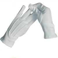 eldiven örneği toptan satış-10 Pairs Üç Kaburga Beyaz Etiquette Eldiven Elastik Eldiven Beyaz Resmi Eldiven Smokin Onur Güvenlik Parade Santa Muayene Guantes Tören