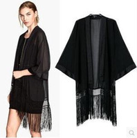 Wholesale Womens Chinese Blouses - Blusa Feminina Womens Shirts Black Tassel Batwing Sleeve Chiffon Kimono Cardigan Plus size Fashion Nice Summer Ladies Tops Chinese Blouses