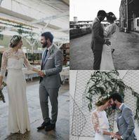Wholesale Simple Elegant Dress Designs - Elegant Design Sheath Wedding Dresses Three Quarter Sleeves Lace Chiffon Floor Length 2017 New Bridal Gowns Custom Size