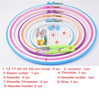 Wholesale Wholesale Embroidery Hoops - 5 different size high quality plastic round 13 17 20 24 27cm embroidery hoops too set for needle work tambour with scissors needle threader