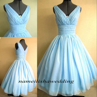 Wholesale Short Overlay Dress Prom - Real Photos 50s Style Cocktail Dresses Light Sky Blue Chiffon Overlay V-Neck Flattering Bridesmaid Party Gowns Cheap Plus Size Short Prom