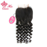 Wholesale H Closure - Queen Hair Brazilian Virgin Hair More Wave 3.5''x4'' (H L) Slightly Bleached Knots Hand Tied Free Part Lace Closure