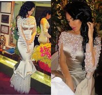 Wholesale Long Bateau Prom Dress - Sparkly Silver Crystals Beaded Prom Dresses 2016 Bateau Illusion Long Sleeve Mermaid Evening Gowns Tulle Floor Length Formal Party Dresses