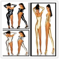 Gold-catsuit-abendkleid Kaufen -Sexy Stage Wear Faux Leder Club Wear Fetisch Wear Catsuit Abendkleid