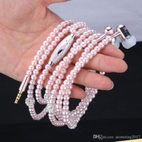 Wholesale Iphone Pearl Pink - Pink girl Rhinestone Jewelry Pearl Necklace Earphones With Microphone Earbuds For Iphone Xiaomi Brithday Gift fone de ouvido