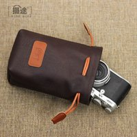 Wholesale Micro Flash Camera - Vegetable Tanning Leather SLR Camera Lens Accept Micro Bag Single Package 8 Color gifts muff Yellow Blue brown red black L M S number