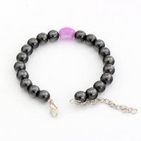 Wholesale Magnetic Round Clasp - Hot ! 100pcs New men and women fashions fashions Round Black Magnetic Hematite Purple ellipse Imitation Opal Loose Bead Beaded Bracelets