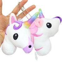 Wholesale Animal Plush Backpack - New Unicorn Backpack Pendant Cartoon Unicorn Plush Toys 10cm 4 inches Stuffed Animals Key Ring Christmas Gifts CCA7521 300pcs