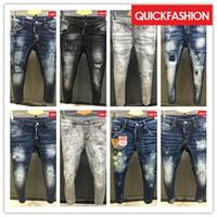 Wholesale Flannel Trousers - High quality fashion New Style Brand DSQ Men's Denim Jean Embroidery Tiger DSQ2 Pants Holes D2 Jeans Zipper Men Pants Trousers