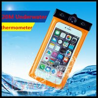Wholesale Ipx8 Waterproof Case - 100% IPX8 Waterproof Mobile Phone Pouch Bag Case equipped with a thermometer or compass 20M Underwater Water For Phone Case