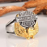 "Wholesale Stainless Rings Engraved - Harley Men's Stainless Steel jewelry Eagle with ""American Biker"" Engraving Cast silver black Ring wholesale"