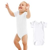 beyaz pamuklu bebek yaz takımları toptan satış-Cheap36pcs Bebek Rompers Takım Yaz Bebek Üçgen Romper Onesies% 100% pamuk Kısa kollu bebekler giysileri için saf beyaz oğlan girlbestgift