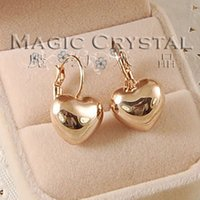Wholesale Earring Gold Plated Italina - Wholesale-Free Shipping Italina Rigant Fashion Heart Austrian Crystal Earring 18k Rose Gold Plated Jewelry Wholesale lovers Birthday gift
