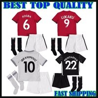 Wholesale Children S Cotton Socks - 17 18 man UTD IBRAHIMOVIC kidS KIT+SOCKS LUKAKU soccer jersey 2017 children United POGBA Camiseta RASHAFORD MKHITARYAN third football shirt
