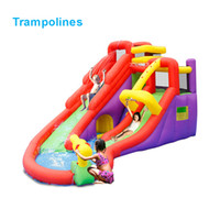 Wholesale inflatable trampolines for kids - Wholesale- 5601 PVC Bounce house inflatable trampoline jumping bouncy castle bouncer jumper with climbing indood playground for kids