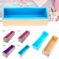 Wholesale Silicone Loaf Moulds - Rectangular Wooden Soap Mold With Silicone Liner And Diy Loaf Swirl Soap Mold Tool Diy Soap Candle Mould 0 .9  1 .2kg Mould