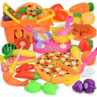 Wholesale Kitchen Kit Cutting - 35PCS Pretend cutting food kit set for kids toddlers Vegetables Fruit Pizza Basket and dishes Cooking Set Kitchen Toys