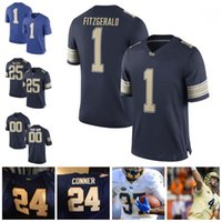 Custom Pittsburgh Panthers Pitt College # 1 Larry Fitzgerald 25 LeSean McCoy 24 James Conner 28 Dion Lewis Sew Blue White Gold Jerseys S-3XL