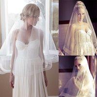 Wholesale Photos Pencil Dresses - 2016 Wedding Dresses Bridal Veils Cheap One Layer Simple Short Veils Real Photo In Stock Wedding Veils