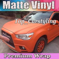 Satin orange Matte Vinyl Auto Wrap Film mit Luftblase Free Matt Vinyl für Fahrzeugverpackung Body Covers Folie Vinyle 1.52x30m / Roll (5ftx98ft)