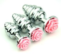 Wholesale Silver Anal - Stainless steel anal plug silver thread Silver Rose anus plug S-M-L size