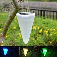 Wholesale Solar Spot Lights For Garden - Wholesale-Modern Solar Powered Garden Home Decor Lamp LED Outdoor Lighting Solar Sensor Hanging Pendant Light Spot for Yard Party