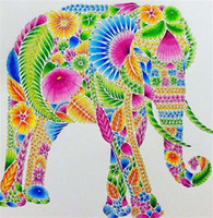 Wholesale elephant canvas painting - New diy diamond painting cross stitch kits resin pasted painting full round drill needlework Mosaic Home Decor animal elephant yx0016