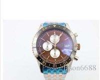 Wholesale Coffee Time - New Stylish Famous Brand Quartz Wristwatch Coffee Face Three Tone With Annual Calendar Black Bezel Chronometer Male Watch Relogio