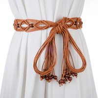 Wholesale Wholesale Beaded Belly Chain - Wholesale- Fashion all-match women's knitted belt handmade skirt decoration belly chain tieclasps beaded belt