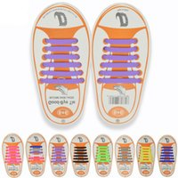 cordones de los niños al por mayor-13 colores Unisex Easy No Tie Shoelaces Kids cordones de silicona elásticos cordones de los niños que se ejecutan los cordones de los zapatos en forma de zapatillas de deporte 12 unids / set