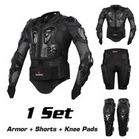 Wholesale Armor Knee Pads - 2017 New Riding Jacket Racing Motorcycle Body Armor Protective Jacket+ Gears Short Pants+protective Motocycle Knee Pad 1sets